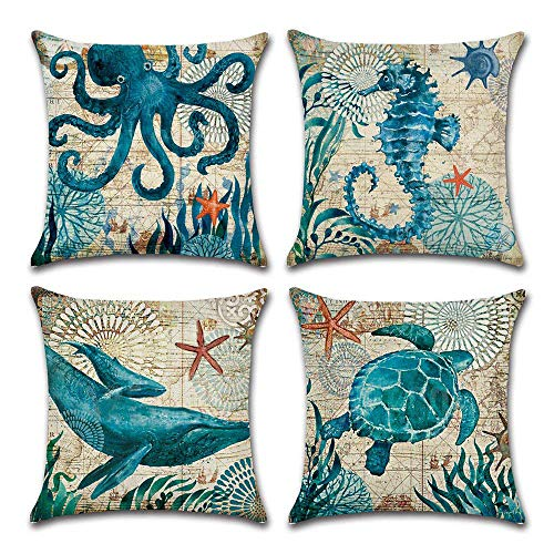 4-Pack Decorative Throw Pillow Cover 18×18, Mediterranean Ocean Coastal Beach Outdoor Pillow Cushion Cases for Couch…