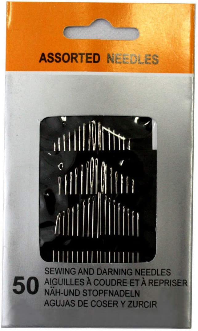 Large-Eye Plated Steel 5 Sizes for Sewing /& Embroidery Thick and Thin Set of 50 Assorted Hand Needles