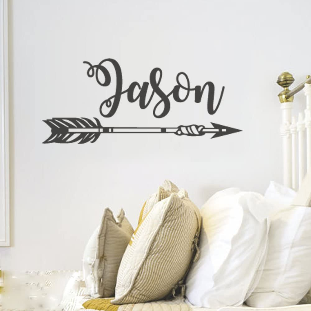 BATTOO Personalized Arrow Name Wall Decal A-Navy Blue, 22 WX9.5 H Boys Name Arrow Tribal Wall Decal-Custom Name Decal Nursery Wall Decal Arrow Wall Art Decor