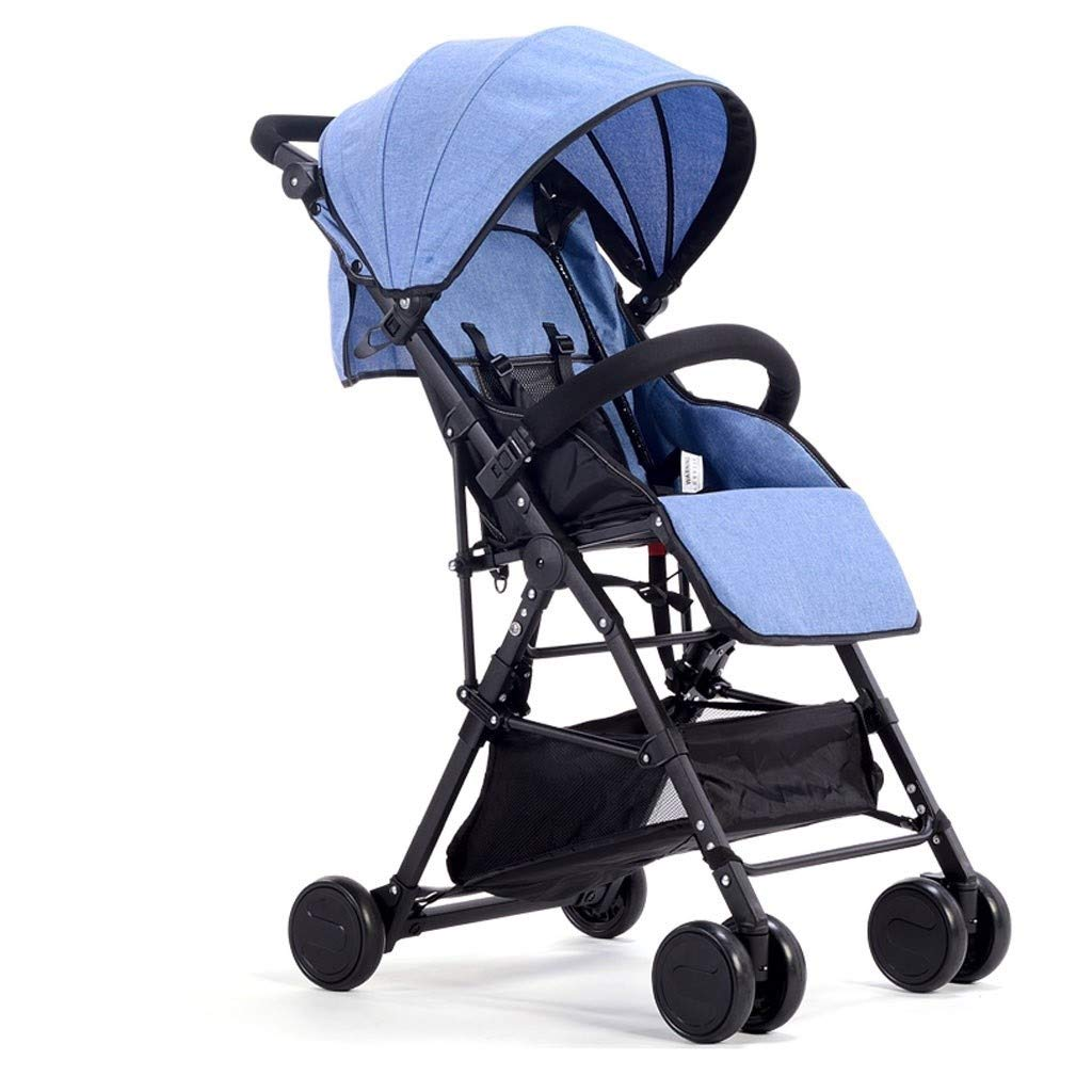 RJJX Home Baby Stroller Folding Stroller with 5-Point Seat Belt Multi-Function Reclining Large Storage Basket Hanging Wheel Cart 5 Color Optional (Color : Blue) by RJJX Home