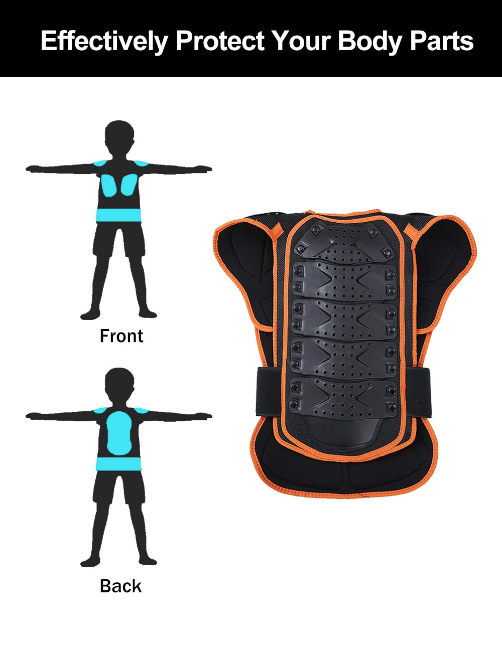 Children Protective Armor Chest Back Spine Protector Kids Motorbike Motorcycle Full Body Armor Vest Youth Protective Riding Biking Vest Jacket Motocross Gear Guard Dirt Bike Safety Armor Protection