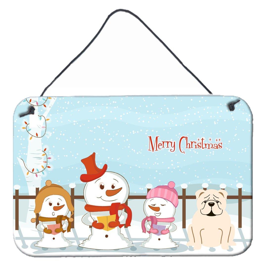 Carolines Treasures Merry Christmas Carolers English Bulldog White Wall or Door Hanging Prints BB2454DS812 8 x 12,