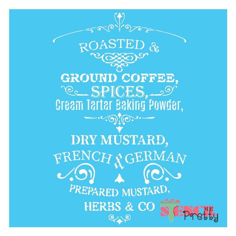 Standard Brilliant Blue Color Material Roasted and Ground Coffee Vintage French Country Kitchen Stencil-XL2 (14'' x 23'') by Stencil Me Pretty