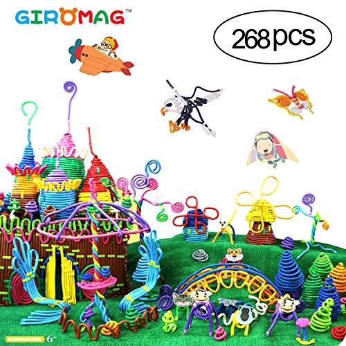 Giromag Soft Building Sticks Toys Set, Soft Building Stem Set Flexible Twistable Construction Theme 3D DIY Activity Game Set-Best Stack Toys Age 6+Years Old Boys Girls, Educational Toys (268Pcs)