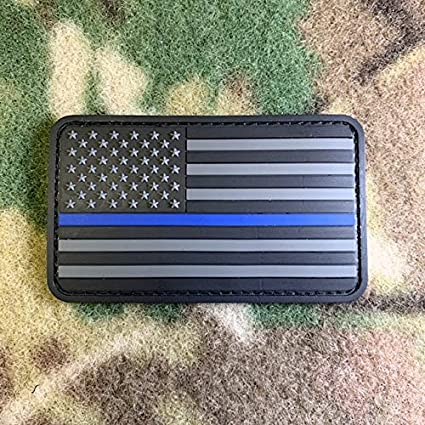 Large Thin Blue Line Black American Flag PVC Morale Patch Hook Back