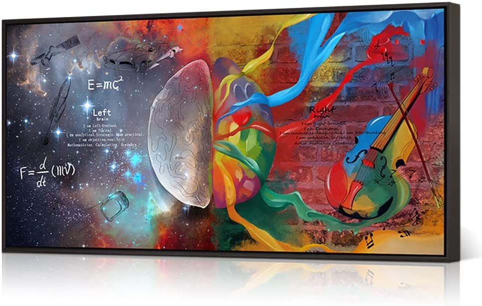 HOMEOART Inspirational Wall Art Left and Right Brain Galaxy Pictures Painting Giclee Prints Abstract Colorful Science Poster Modern Framed Artwork Office Decor(Floater Frame 20x36inch)