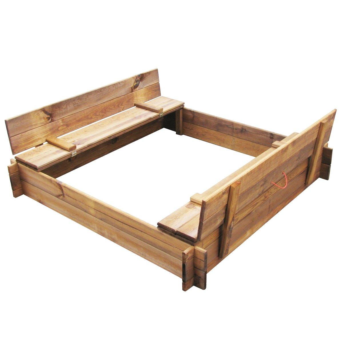 vidaXL Holz Sandkasten Sandkiste Buddelkiste Sandbox mit Deckel Sitzbänken 120x120 cm