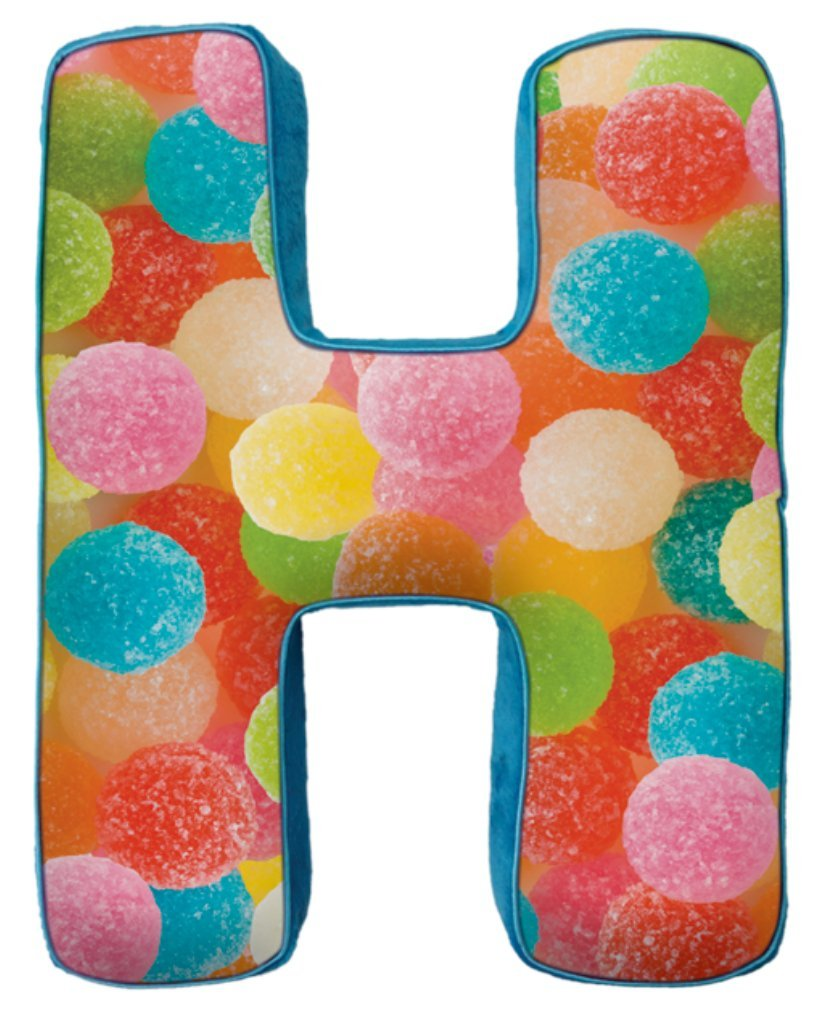 iscream Lettermania H Initial 16'' Gumdrop Print Fleece Back Microbead Pillow by iscream