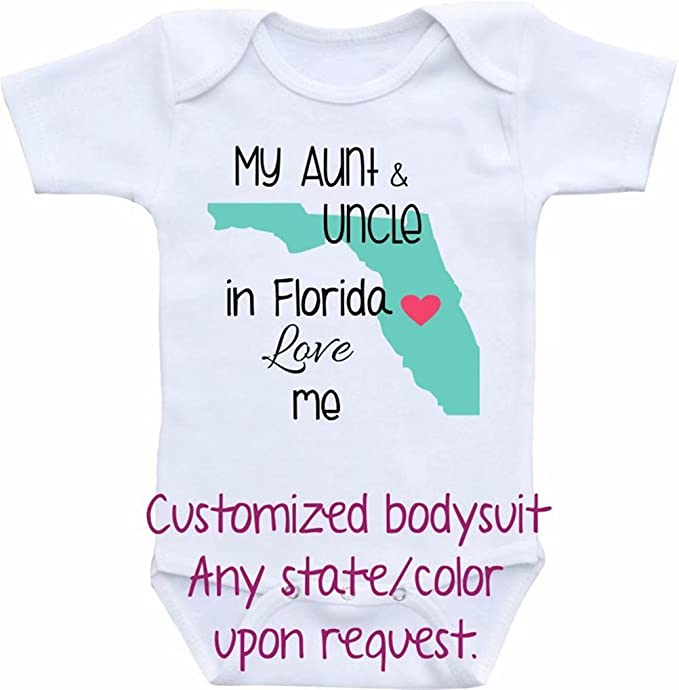 b66520364aa3 Amazon.com  Promini Funny Customized Bodysuit Any State Baby ...