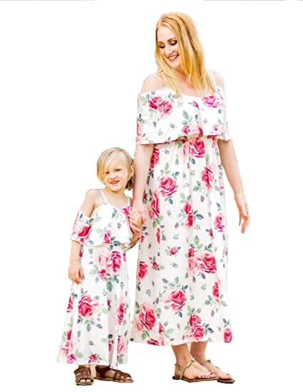1c682af34 Mommy Me Floral Off Shoulder Flounce Ruffle Long Maxi Dress Family ...