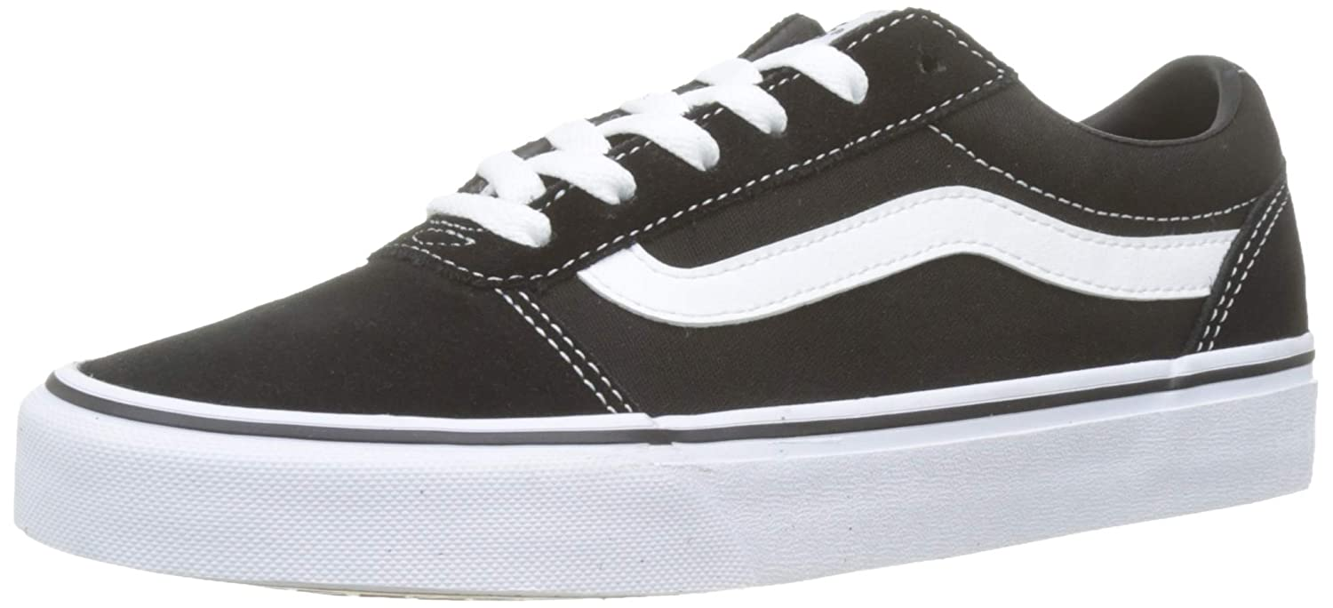 Black ((Suede Canvas) Black White Iju) Vans Womens Ward Suede Low Top Lace up Fashion Sneakers