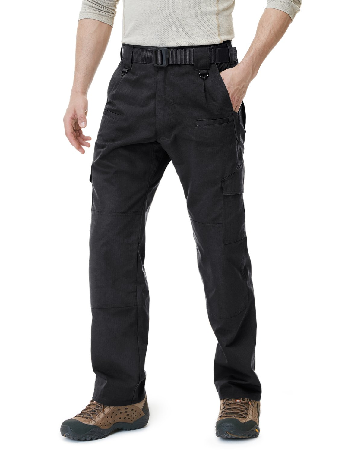 CQR CQ-TLP104-BLK_32W/34L Men's Tactical Pants Lightweight EDC Assault Cargo TLP101/102/103/104