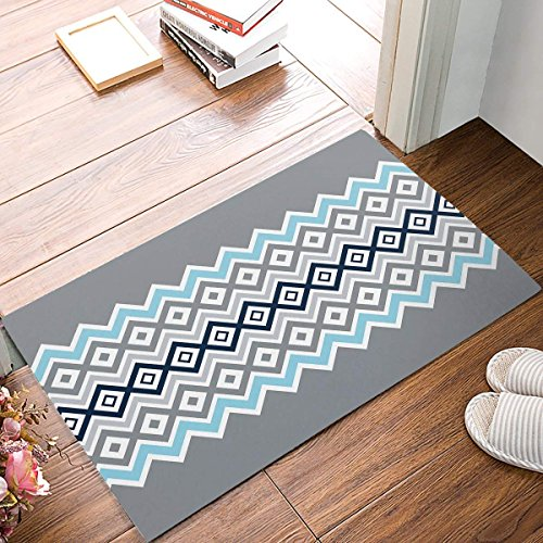 Ruio Custom Wave Simple Pattern Rug Entrance Bathroom Doormat Carpet Indoor Mat Anti Skid Shag Shaggy Bath Shower Mats 23.6