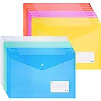 ZCZN 24 pcs Transparent Plastic File Folders, Letter Size / A4 Size Waterproof File Envelopes with Label Pocket and Snap…