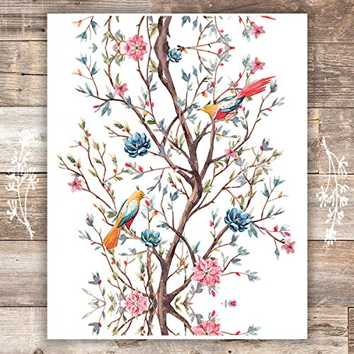 Bird Wall Art Print - Unframed - 8x10s | Birds in Tree
