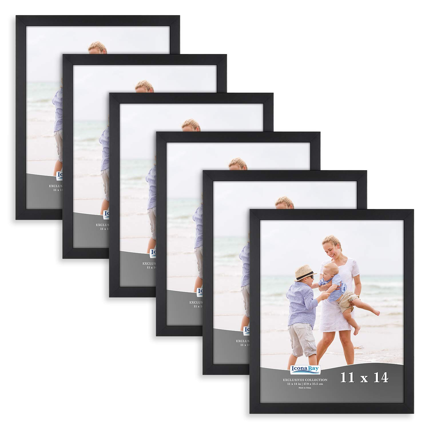 Icona Bay 11x14 Picture Frame (6 Pack, Black), Black Sturdy Wood Composite Photo Frame 11 x 14, Wall or Table Mount, Set of 6 Exclusives Collection by Icona Bay