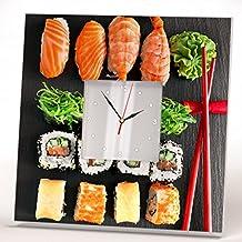 Sushi Japanese Sashimi Roll Wall Clock Framed Mirror Printed Art Asian Bar Decor Home Design Gift