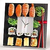 Cheap Sushi Japanese Sashimi Roll Wall Clock Framed Mirror Printed Art Asian Bar Decor Home Design Gift