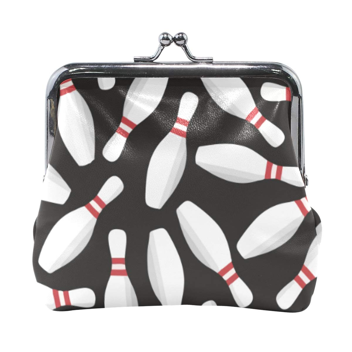 Bowling Black Pattern Coin Purse Buckle Vintage PU Pouch Kiss-lock Wallet for Women Girl