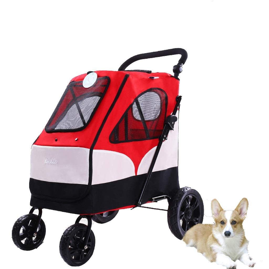 Red Pet Stroller Large Pet Stroller Large Dog Dog Stroller Folding Large Space Bearing 55KG Outing (color   Red)