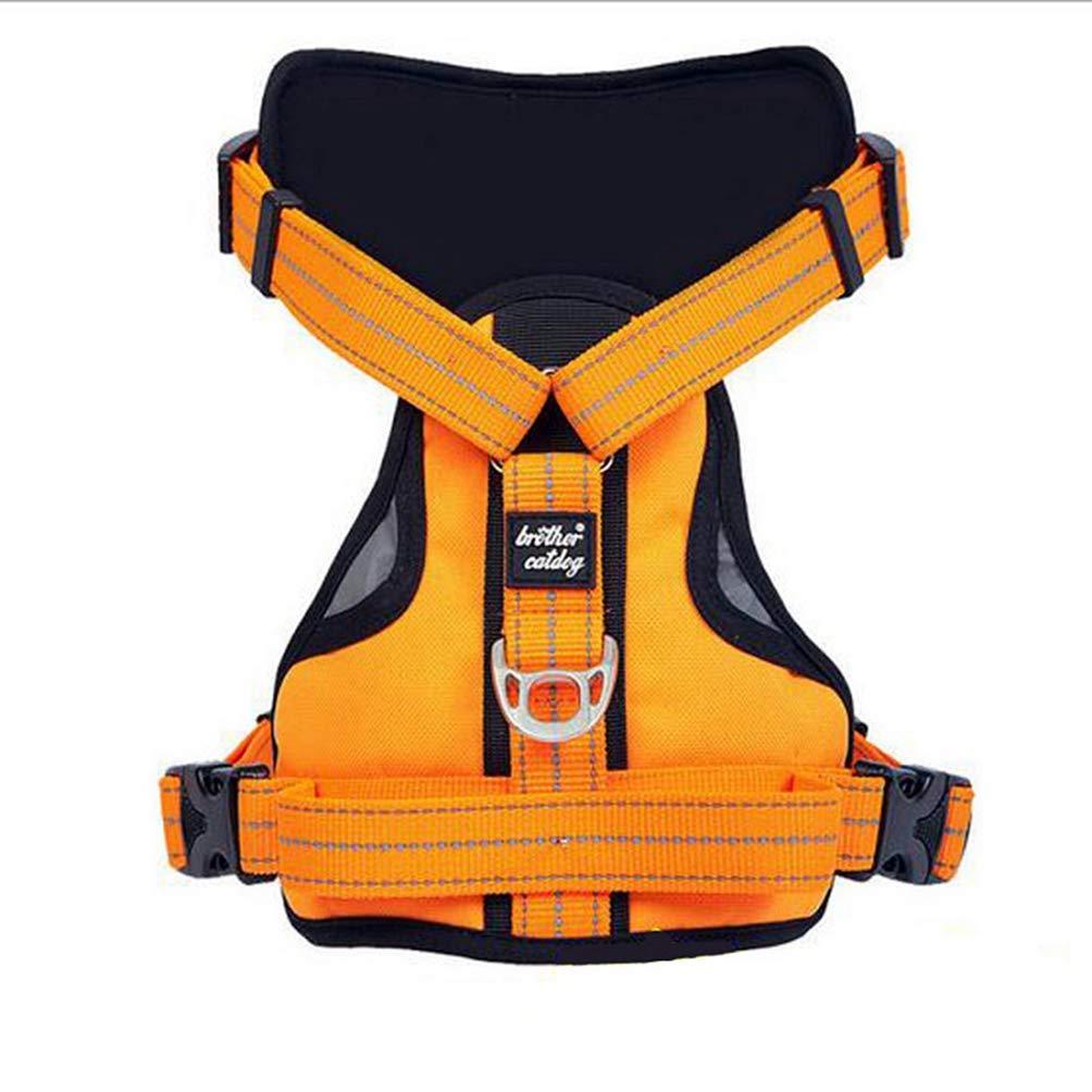 orange L orange L Jim Hugh Dog Harness Large Vest Reflective Pet Training Vests Big Dog Walk Out Leash Collars Strong Nylon Collar 3 color