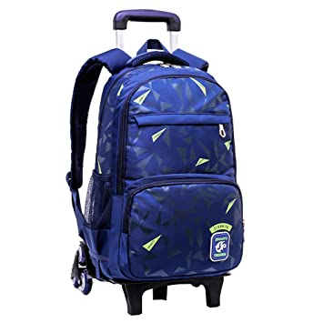 0d89ec731966 Fanci Geomatric Triangle Prints Waterproof Primary Middle School Rolling  Trolley Bookbag for Elementary Boys Wheeled Backpack