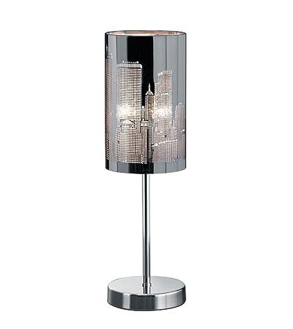 Tischleuchte chrom Edelstahl gebürsteter Stahl Kristallglas LED