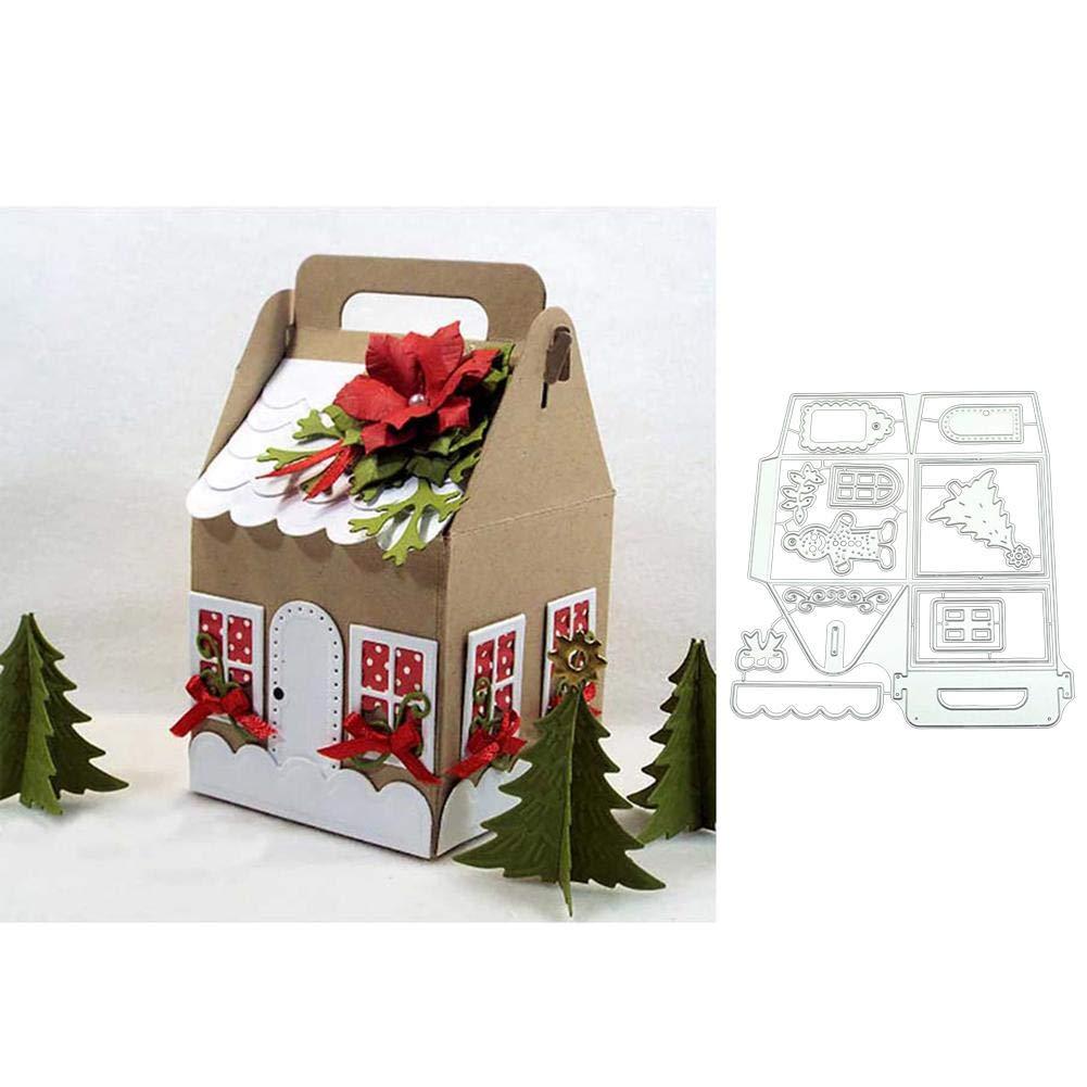 Lai-LYQ Stanzmaschine Stanzschablone 3D Box Scrapbooking Pr/ägeschablonen Festival Karten Handwerk Silver