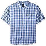 Dickies Men's Modern Fit Yarn Dyed Plaid Short Sleeve Shirt, White/Blue, L