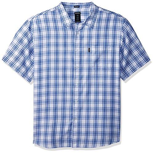 Dickies Men's Modern Fit Yarn Dyed Short Sleeve Shirt, White/Blue Plaid, XL