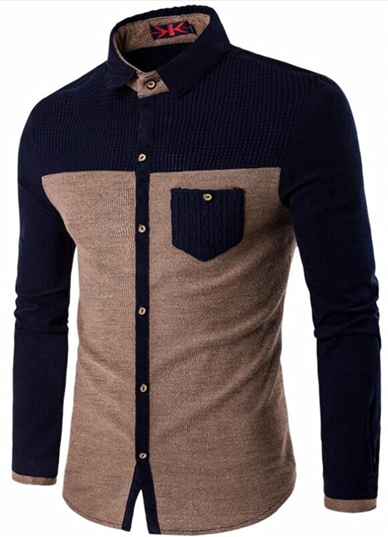 Unko Men Long Sleeve Button Down Shirt With Pocket Shirt