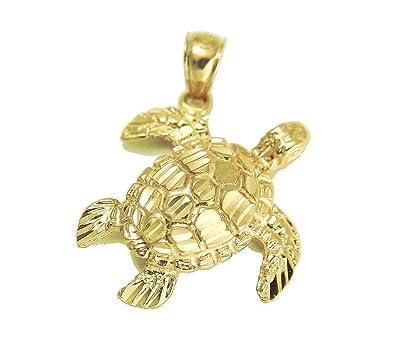Amazon 14k solid yellow gold sparkly diamond cut hawaiian sea 14k solid yellow gold sparkly diamond cut hawaiian sea turtle honu pendant large aloadofball Choice Image