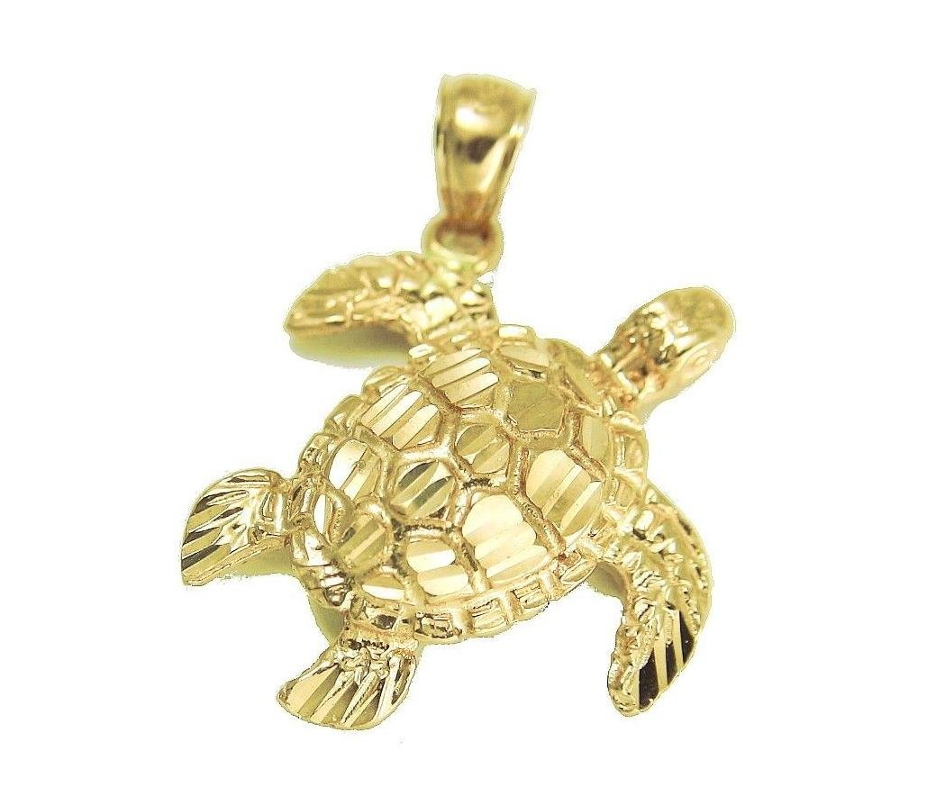 14k Solid yellow gold sparkly diamond cut Hawaiian sea turtle honu pendant large