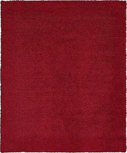 Unique Loom Solo Solid Shag Collection Modern Plush Cherry Red Area Rug 8' 0 x 10' 0