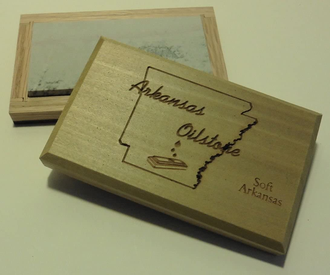 "Hard Arkansas 8/"" X 2/"" X 1//2/"" Sharpening Stone,Natural Ark Whetstone in Wood Box"