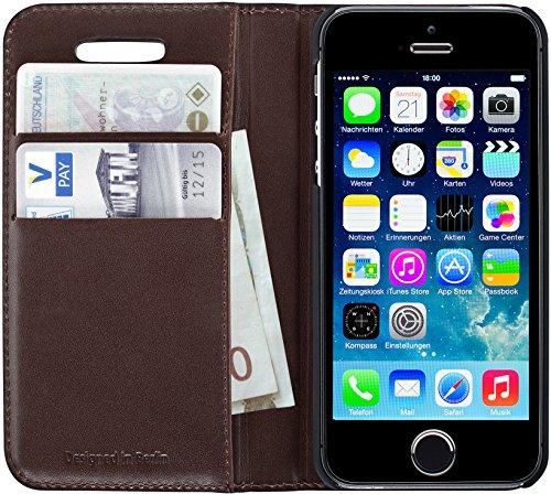 Artwizz 3831-1144 Wallet Lederhülle (Kartenfach, geeignet für Apple iPhone SE und iPhone 5/5S) braun
