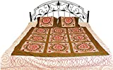 Antique-White and Green Bedspread from Gujarat with Embroidered Flowers and Sequins - Pure Cotton wi