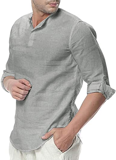 DOGZI Camisas para Hombre - Manga de Tres Cuartos de algodón y ...