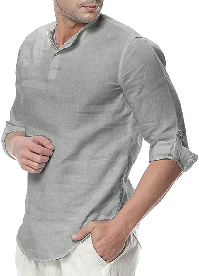 Fieer Mens V Neck Tee Button Down Fashion Loose Solid Casual Tops Shirts