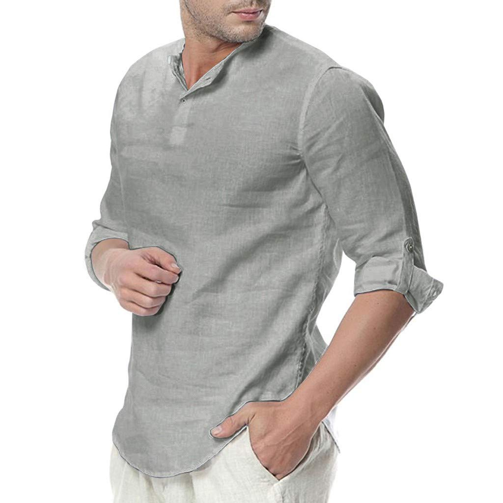 Mens Casual Linen Button Up Blouse 3//4 Sleeve Band Loose Fit Collar Woven Shirt Beach Shirts JHKUNO
