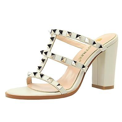 YE Damen High Heels Sandalen Slipper mit Blockabsatz und Nieten Pantoletten  Mules Sommer Schuhe(Beige 3b92610487