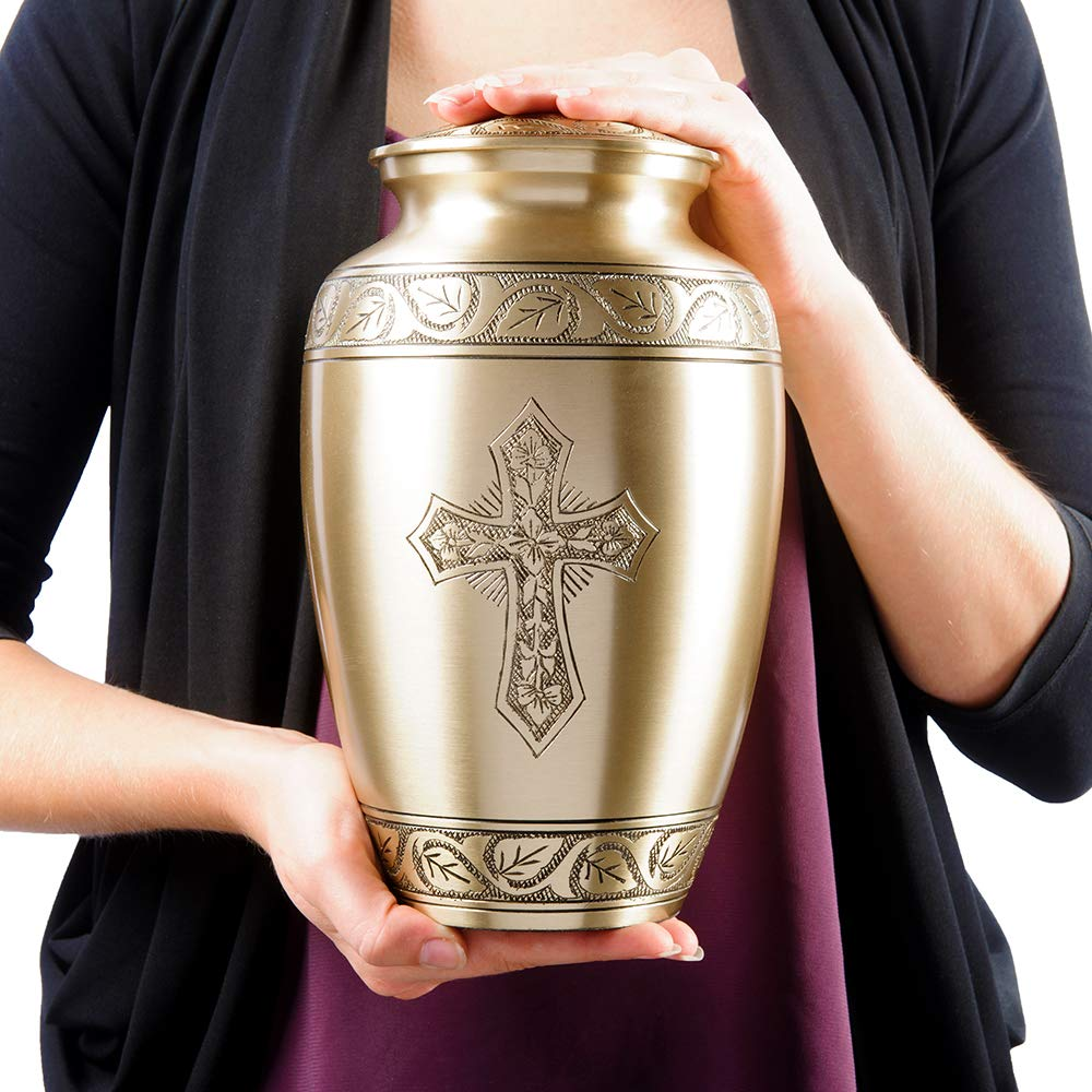 with Velvet Bag A Warm and Lovely Large Urn with a Hand Crafted Classy Finish to Honor Your Loved One Beloved and Inspiring Engraved Bronze Adult Cremation Urn for Human Ashes