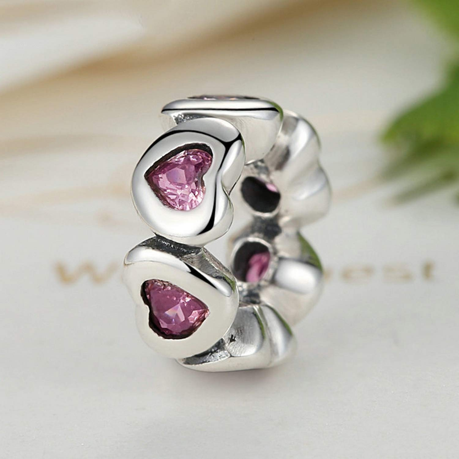 Evereena Silver Beads Bracelet for Girls Fancy Pink Sparking Heart Gifts Spacer Charm Womens Jewelry