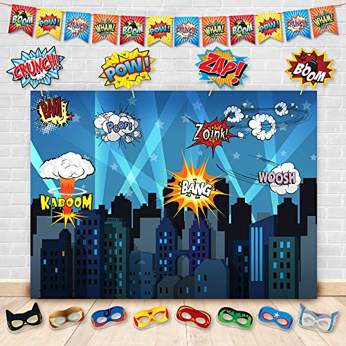 Superhero Cityscape Photography Backdrop, Studio Props, Flags and Mask DIY Kit. Great as Super Hero City Photo Booth Background - Birthday Party and Event Decorations for $<!--$24.95-->