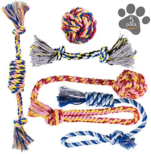 Dog Toys – Dog Chew Toys – Puppy Teething Toys- Puppy Chew Toys – Rope Dog Toy – Puppy Toys – Small Dog Toys – Chew Toys – Dog Toy Pack – Tug Toy – Dog Toy Set – Washable Cotton Rope for Dogs