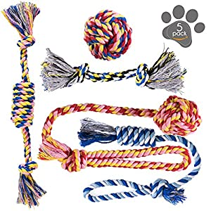 Dog Toys - Dog Chew Toys - Puppy Teething Toys- Puppy Chew Toys - Rope Dog Toy - Puppy Toys - Small Dog Toys - Chew Toys - Dog Toy Pack - Tug Toy - Dog Toy Set - Washable Cotton Rope for Dogs 11