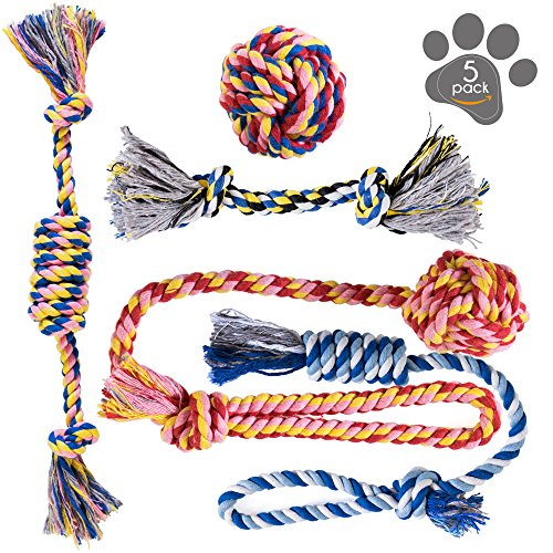 Dog Toys - Dog Chew Toys - Puppy Teething Toys- Puppy Chew Toys - Rope Dog Toy - Puppy Toys - Small Dog Toys - Chew Toys - Dog Toy Pack - Tug Toy - Dog Toy Set - Washable Cotton Rope for Dogs