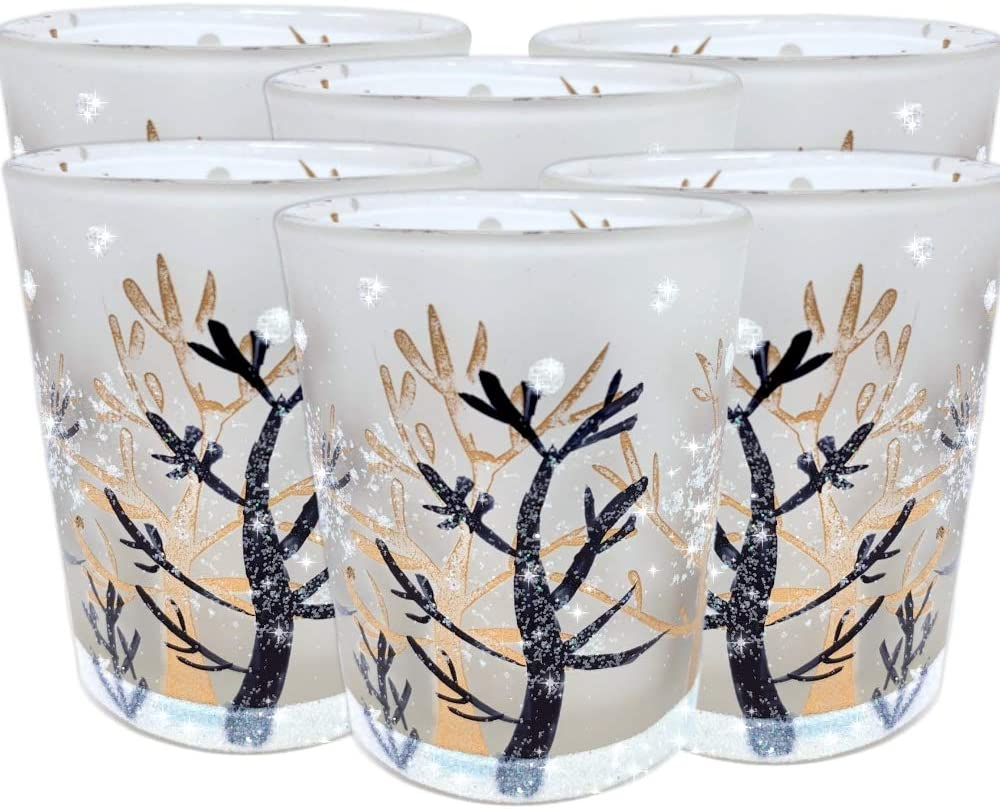 BANBERRY DESIGNS Glittery Winter Trees and Snow Set of 6 Frosted Glass Votive Candle Holders with Three Flameless Flickering LED Votive Tealights Included