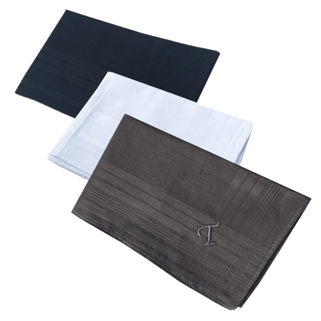 OWM Handkerchief Pack of 3 Cotton Embroidered Initial Monogram Handkerchief Men (T, Assorted)