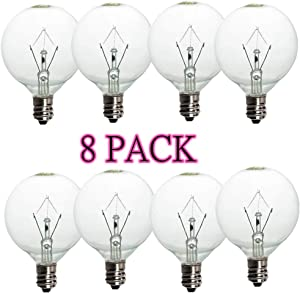 (8 Pack)Wax Warmer Bulbs, 25 Watt G50 Bulbs for Full-Size Scentsy Warmers, E12 Incandescent Candelabra Base Clear Light Bulbs for Candle Wax Warmer,Dimmable - Warm White - 110-130 Volt Light Bulbs